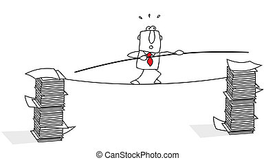 tightrope walker - This businessman has difficulties with...