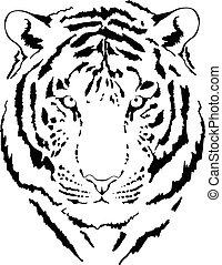 tigre, 5, tête, interprétation, noir