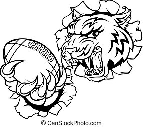 tigre, américain, joueur, sports, football, mascotte