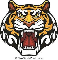 tigre, animal, bozal, vector, deporte, equipo, mascota, icono