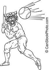 tigre, balanceo, bate de béisbol, pelota, mascota, jugador