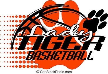 tigre, baloncesto, dama