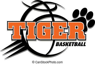 tigre, baloncesto, diseño