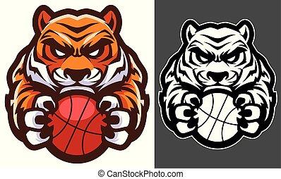 tigre, basket-ball, mascotte