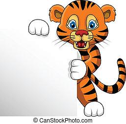 tigre, blanco, joven, señal