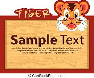 tigre, bois, planche
