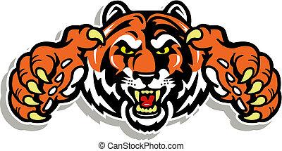 tigre, cara, con, garras