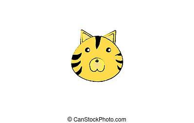 tigre, cara, dibujo