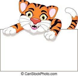 tigre, caricatura, con, blanco, tabla