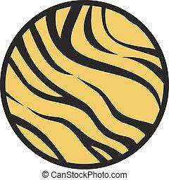 tigre, cercle, symbole, texture
