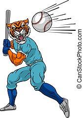 tigre, chauve-souris, joueur, oscillation, base-ball, mascotte, balle
