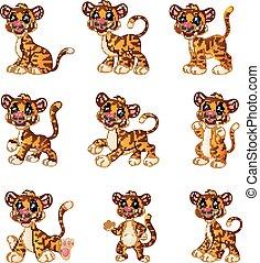 tigre, conjunto, caricatura, colección