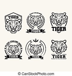 tigre, conjunto, negro, colección, icono