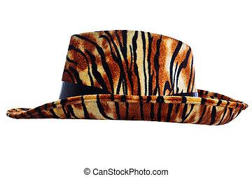 tigre, coupure, chapeau, dehors