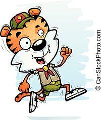 tigre, courant, scout, mâle, dessin animé