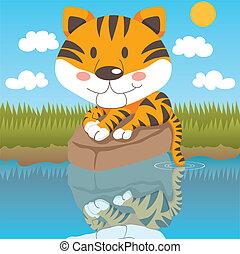 tigre, décontracté