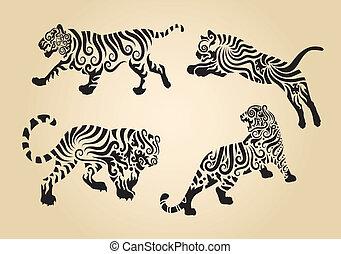 tigre, décoration, boucle, ornement