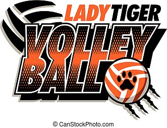 tigre, dama, voleibol