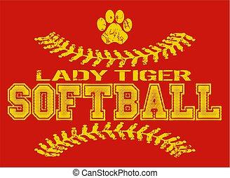 tigre, dame, softball