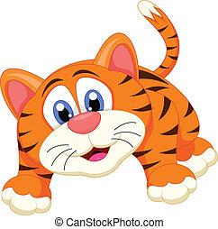 tigre, dessin animé, mignon