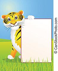 tigre, dessin animé, signe, vide