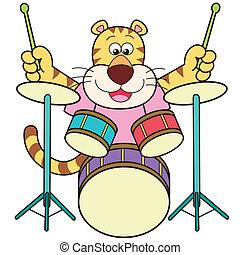 tigre, dessin animé, tambours, jouer