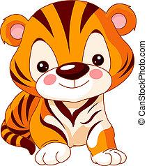 tigre, diversión, zoo.