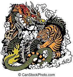 tigre, dragon, baston