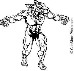 tigre, effrayant, sports, mascotte