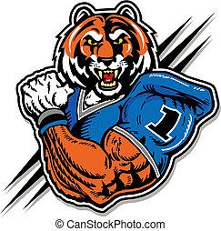 tigre, en, uniforme del balompié