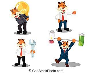 tigre, ensemble, dessin animé, business