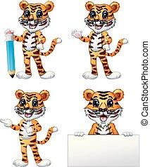 tigre, ensemble, dessin animé