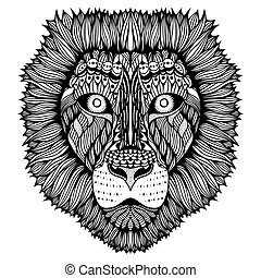 tigre, estilizado, zentangle, face.