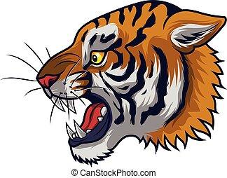 tigre, fâché, tête, mascotte