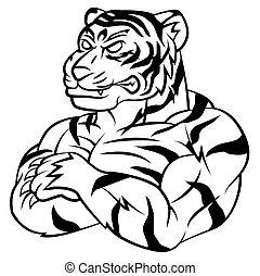 tigre, fort, mascotte