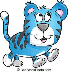 tigre, gai, illustration, vecteur