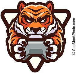 tigre, gamer, mascotte