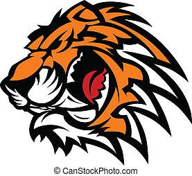tigre, gráfico, mascota