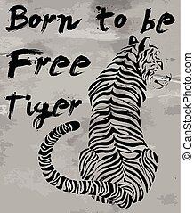 tigre, graphique, t-shirt, slogans, vecteur, conception