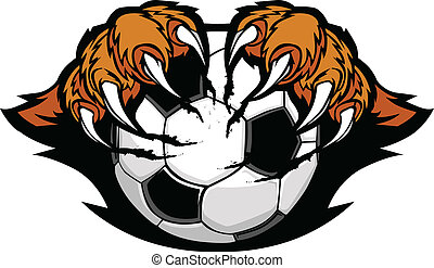 tigre, griffes, boule football, vecteur