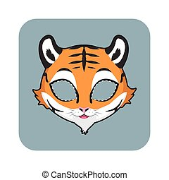 tigre, halloween, festivités, autre, masque