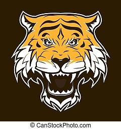 tigre, head., fâché, rugir, face.