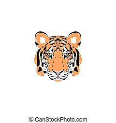 tigre, head., vector, ilustración