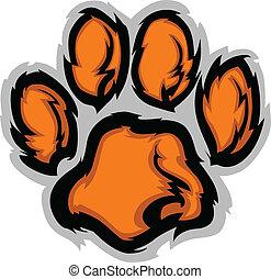 tigre, illustratio, pata, vector, mascota