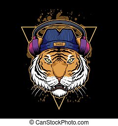 tigre, illustration, casque