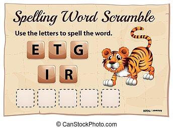 tigre, juego, palabra, ortografía, camino difícil