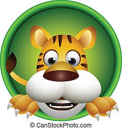 tigre, lindo, cabeza, caricatura