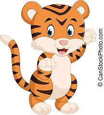 tigre, lindo, caricatura