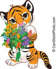 tigre, lindo, flores, cachorro