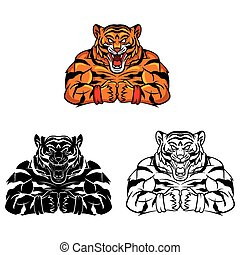 tigre, livre coloration, fort, caracter